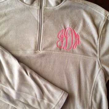 OOPS Monogrammed pre- made with initials (jDm) in Medium Qtr zip fleece pullover and matching Turtle Fur Earwarmer SET DEAL 40