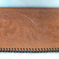 Light Brown Leather Hand Tooled Wallet