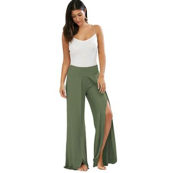 Yuerlian Ruffles Loose Flare Pants Women Solid Boot Cut Trousers 2017 Summer New Lady Casual Bell-bottomed Slit Long Pants Beach