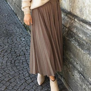 New Brown Plaid Draped Pleated Elegant Skirt