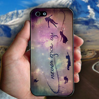 Peter Pan Quotes, Never Grow Up - Print on hard plastic case for iPhone case. Select an option