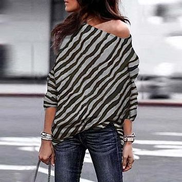 New Women  Zebra Striped Print Off Shoulders Long Sleeve Tunic Tops  christmas t shirt 2018