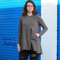 Easel Olive Gray Hooded Tunic with Large Front Pockets