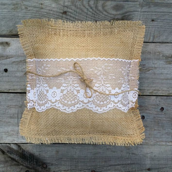 Burlap Ring Bearer Pillow with Lace and Twine