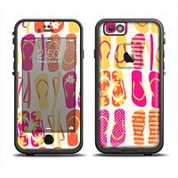 The Vibrant Pink & Yellow Flip-Flop Vector Apple iPhone 6 LifeProof Fre Case Skin Set