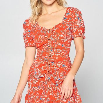 Short Sleeve Floral Dress with Buttons