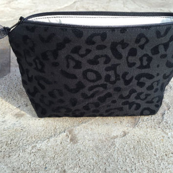 Small Makeup Bag - Cosmetic Bag for Travel or Purse Organization – Zipper Pouch Toiletry Bag - Black Animal - Vinyl Lined Toiletry Purse