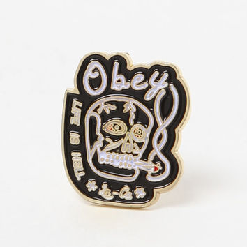 OBEY Life Is Hell Pin at PacSun.com