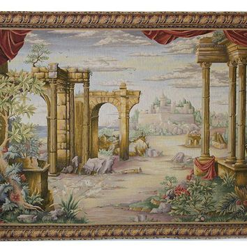 French Woven Tapestry Wall Hanging Vue Antique Without People European