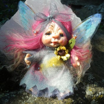 Ooak Miniature  Posable little Magic Fairy sculpt handmade Unique Piece  Fairy Dolls, collectible fairy dolls, polymer clay dolls