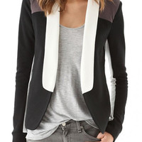 Color Block Shawl Collar Long Sleeve Blazer