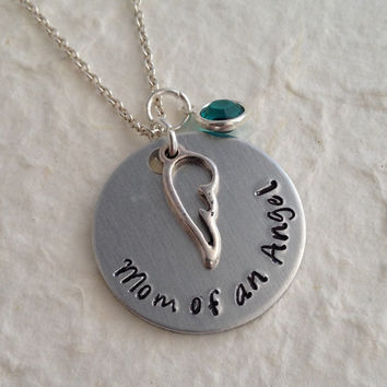 """Hand Stamped Memorial Necklace with Baby Birthstone / """"Mom of an  Angel"""" Remembrance Pendant / Angel Wing Necklace / Memory Necklace"""