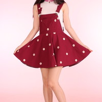 Glitters For Dinner — Maroon Daisy Pinafore
