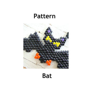 Bat Peyote Stitch Patterns, Halloween Jewelry DIY Craft, Seed Beads