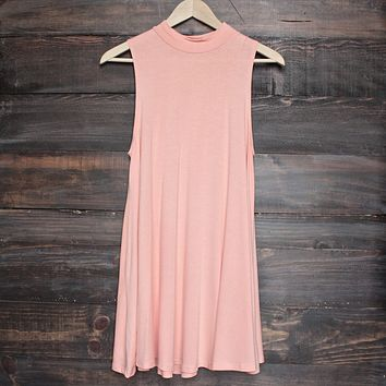 Final Sale - BSIC - solid high neck womens tank mini dress - coral