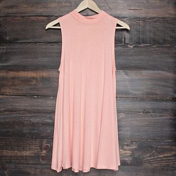 BSIC - solid high neck womens tank mini dress - coral