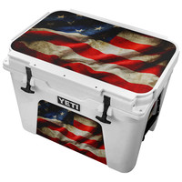 Crinkled Fabric American Flag V2 Skin for the Yeti Tundra Cooler