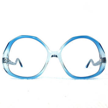 vintage deadstock 70s round eyeglasses drop arm frame acetate glasses eyewear oversize big translucent crystal blue bright men women NOS 216
