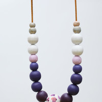 Lilac purple Pink and white extra large necklace, natural wooden beads, pastel ombre necklace, wood hand painted pastel necklace