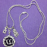 Chi Omega Greek Sorority Charm Elegant Necklace - lavaliere, lion mascot charm, handpoured pendant on a 24 inch chain