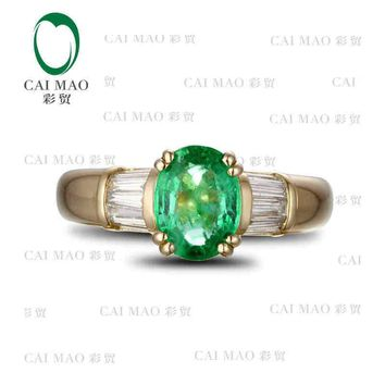 CaiMao 1.18 ct Natural Emerald 18KT/750  Yellow Gold  0.38 ct Full Cut Diamond Engagement Ring Jewelry Gemstone colombian