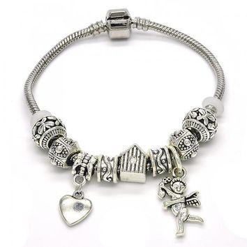 Rhodium Layered 03.179.0020.08 Charm Bracelet, House and Heart Design, Polished Finish, Rhodium Tone