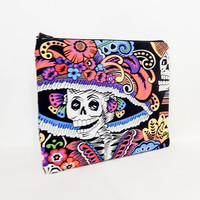 Fabric Zipper Pouch, Zipper Pouch, Pouch, Black Skeleton Pouch, Cosmetic Bag, Toiletry Bag, Large Zipper Case, Day of the Dead Zipper Case