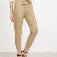 Frill Waist Self Tie Tailored Pants -SheIn(Sheinside)