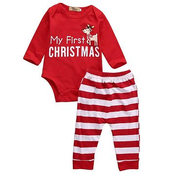 Xmas Baby Clothing 2Pcs Infant Baby My First Christmas Romper +Stripe Pants Outfits Clothes