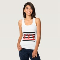 Black white nautical stripes on three red lobsters tank top
