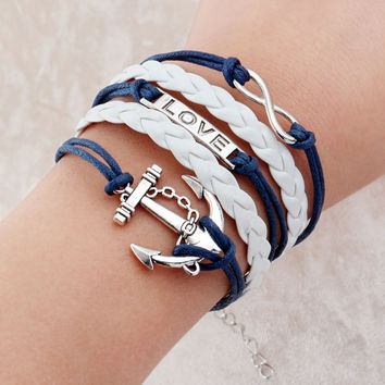 Vintage Braided Anchors Rudder bracelete Love owl best friends Leather Bracelet men jewelry heart Rope wrap Bracelets for women