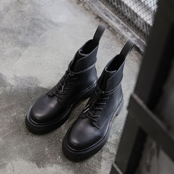 New England Style Ankle Boots Flat Motorcycle Boots Lace-up Winter Shoes High Quality Leather Casual Chelsea Men Boots Shoes