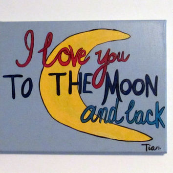 Baby Boy Nursery - Boys Nursery Decor - I love you to the moon - Baby Wall Art - Nursery Canvas Art -11x14 Canvas Art - Boys Nursery Canvas