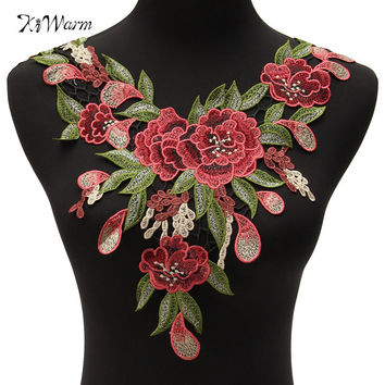 Rose Flower Motif Collar Sew On Patch Cute Applique Badge Embroidered Bust Dress Patches Women Gift Clothes Stickers Garment