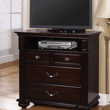 Syracuse collection contemporary style dark walnut finish wood TV console media chest