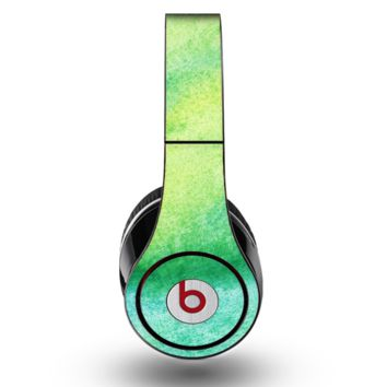 The Vibrant Green Watercolor Panel Skin for the Original Beats by Dre Studio Headphones