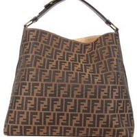 Fendi women's shoulder bag original hobo brown