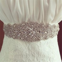Women Belt Crystal wedding Bridal Dress