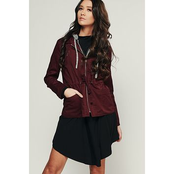 Make Up Your Mind Utility Jacket (Wine)
