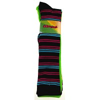 Krazisox Set of 4 Pairs of Socks Stripes Solid Green Knee High Womens Size 4-10