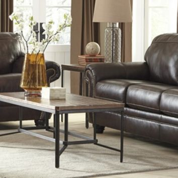 Ashley Furniture 82202-38-35 2 pc bristan collection walnut colored leather match upholstered sofa and love seat with nail head trim