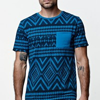 On The Byas The Zone Jacquard Longline Crew T-Shirt - Mens Tee - Blue