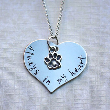 Always in my Heart pet memorial necklace, pet loss, memorial, dog jewelry, necklace, paws