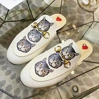 GUCCI New fashion strawberry cat print high quality shoes slippers women