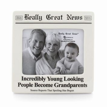 Really Great News Young Grandparents Photo Frame - Perfect Grandparents Gift