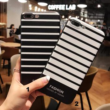 Simple black and white stripes mobile phone case for iPhone X 7 7plus 8 8plus iPhone6 6s plus -171121