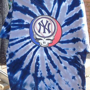 Steal Your Yankees Grateful Dead Style Tie dye Blue Shirt SMALL tiedye mens womens