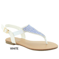 White w/ Blue Beaded T Strap Sandal