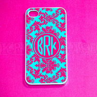 iphone 4 Case, Damask Pink & turquoise with monogram iPhone 4 Cases, Iphone 4s Cover,Case for iPhone 4