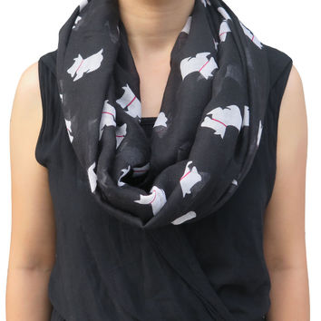Scottish Terrier Scottie Westie Dog Animal Pet Print Women's Infinity Loop Scarf Soft Lightweight